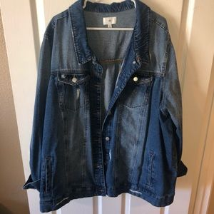 NWOT Denim Distressed Jacket
